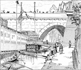 The bank of the Pont Neuf, vintage engraving.