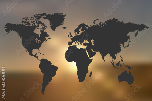 World Map Sunset Illustration