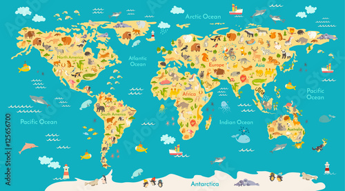 Map Of South Africa For Kids.Animal Map For Kid World Vector Poster For Children Cute