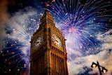Fototapeta Londyn - Big Ben with fireworks. New Year's Eve