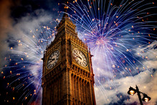 Big Ben With Fireworks. New Year's Eve