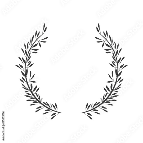 Fototapeta gray scale crown formed with two olive branch vector illustration obraz