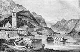 Widok na jezioro Como w Lombardii, vintage grawerowanie. - 125659944