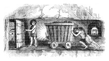 Scenes In Coal Mines In England, The Trapper, Vintage Engraving.