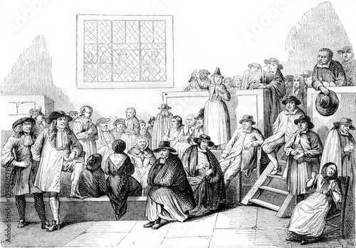 Cuadros en Lienzo A Quaker meeting in the eighteenth century, vintage engraving.