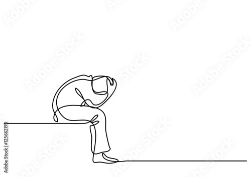 Fotografie, Obraz  continuous line drawing of depressed man sitting