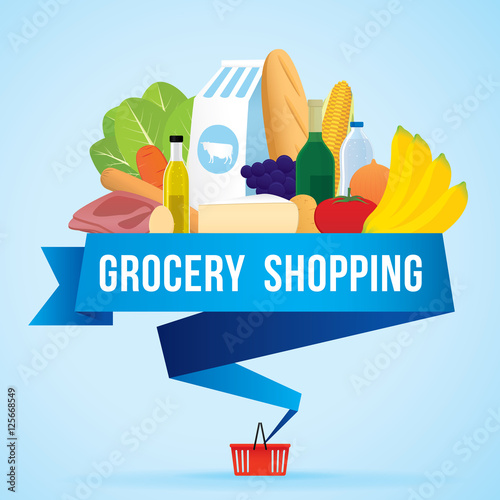 Fotografía  Vector illustration of grocery shopping banner with various of goods