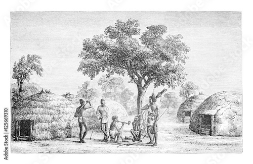 Tribesmen Of Mandombe In Congo Central Africa Vintage Engravin Buy This Stock Illustration And Explore Similar Illustrations At Adobe Stock Adobe Stock