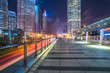 footbridge with cityscape at night in Shanghai,China.
