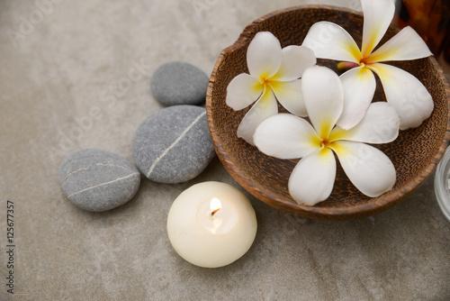 Staande foto Spa background, beauty, collage, essentials, treatment, wellness spa, stone, view, top, frangipani, closeup,
