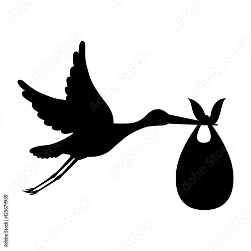 Fotografia silhouette of stork holding a baby basket icon over white background