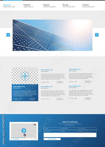 Modern Eco One Page Website Design Template, with Solar