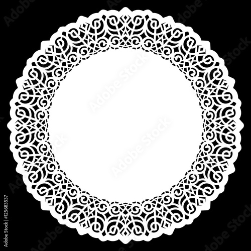 Fényképezés  Lace round paper doily, lacy snowflake, greeting element,  template for cutting  plotter, round pattern, laser cut  template, doily to decorate the cake,  vector illustrations