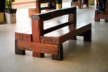 Recycle Wooden Chair Made Of Wooden Railway Sleepers In Train St
