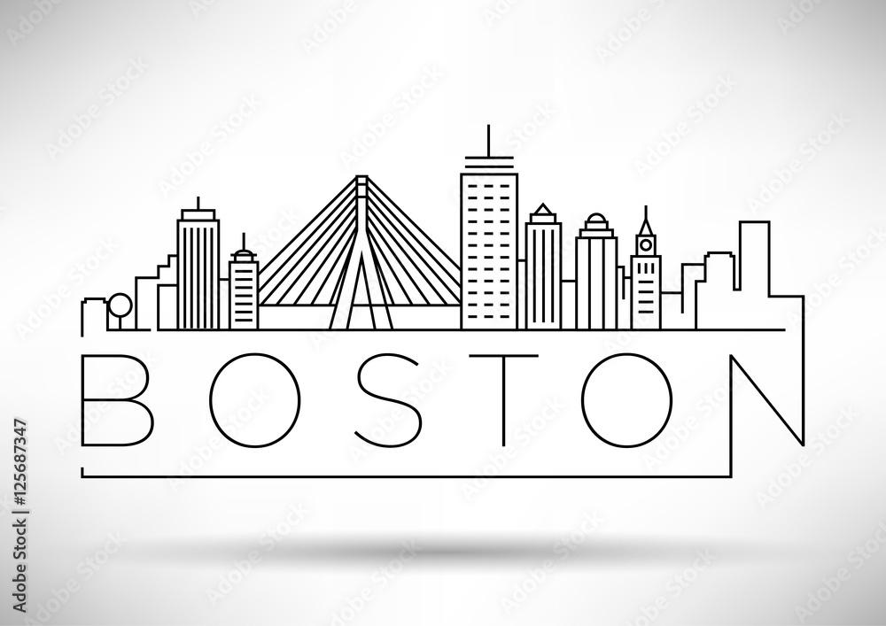 Minimalna linia horyzontu Boston City z typograficznym projektem <span>plik: #125687347 | autor: Kürşat Ünsal</span>