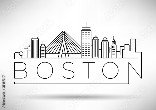 Cuadros en Lienzo Minimal Boston City Linear Skyline with Typographic Design