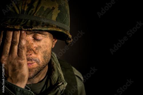 Obraz American Soldier - Vietnam War - PTSD - fototapety do salonu