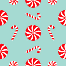 Christmas Candy Cane Round White And Red Sweet Set. Seamless Pattern Decoration. Wrapping Paper, Textile Template. Blue Background. Flat Design.