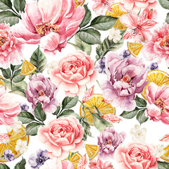 Panel Szklany Peonie Seamless pattern with watercolor flowers. Peonies, anemone, citrus and roses. Illustration