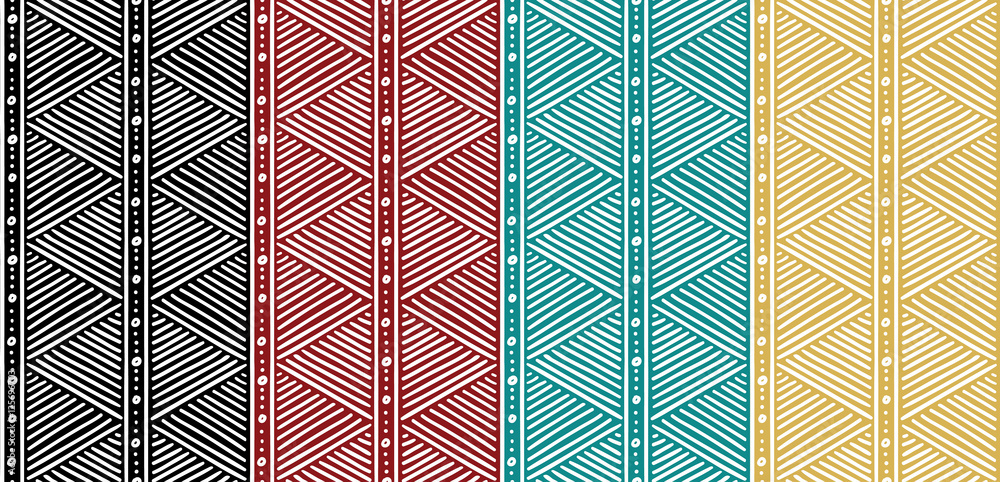 Fototapeta Tribal Seamless Ethnic African Pattern with Lines.