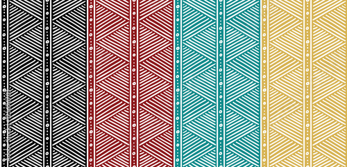 Canvas Print Tribal Seamless Ethnic African Pattern with Lines.