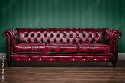 Nytt Red chesterfield sofa with green wallpaper background - Buy this ZM-89