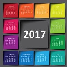2017 Calendar. Color Post It