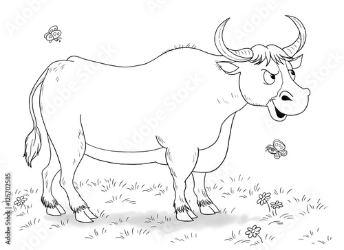 At The Farm Domestic Animals Illustration Of A Cute Funny Bull And Butterflies