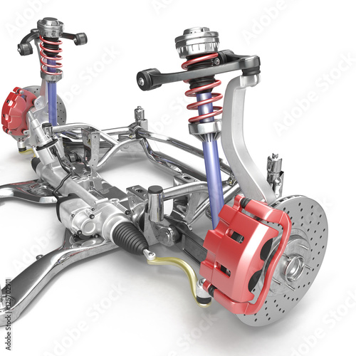 Fotografía  Front axle with suspension and absorber on white. 3D illustration