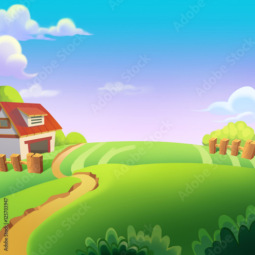 Beautiful Farm on the Sunny Day under the Green Hill. Video Game's Digital CG Artwork, Concept Illustration, Realistic Cartoon Style Background