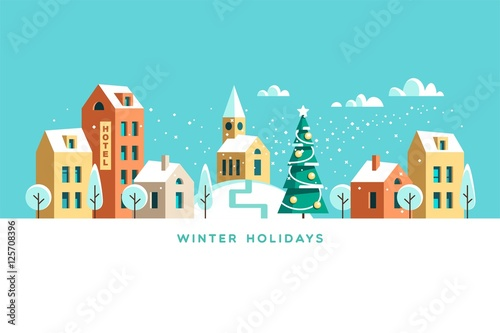 Tuinposter Turkoois Snowy street. Urban winter landscape. Christmas card Happy Holidays banner. Vector illustration flat design.