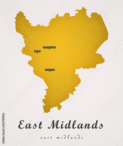 East Midlands England Uk Art Map Buy This Stock Illustration And