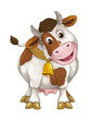 Cartoon happy farm animal - cheerful cow is standing smiling and looking - artistic style - isolated - illustration for children