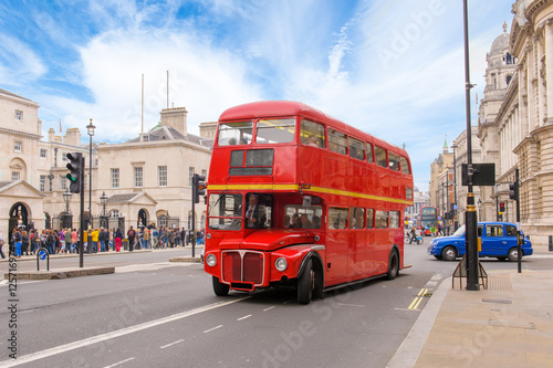 Aluminium Prints London red bus red double decker vintage bus in a street