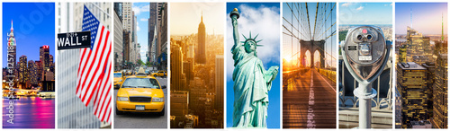Printed kitchen splashbacks New York TAXI New York City Panorama Collage