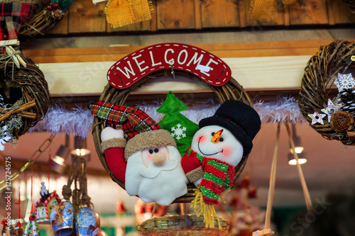 Colorful close up details of christmas fair market Poster