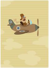 Cartoon Retro Pilot Aviator On...