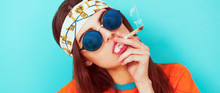 Hippy Girl Portrait Smoking We...