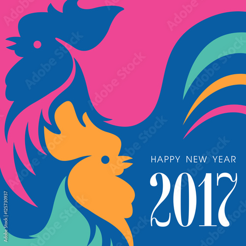 Happy New Year Concept Two Colorful Roosters Chinese Symbol Of
