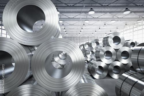 Fotografia roll of steel sheet in factory