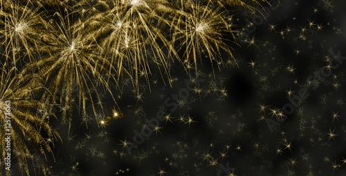 Aluminium Prints Bestsellers goldener Hintergrund mit Feuerwerk und Sternen