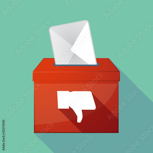 Long shadow coloured ballot box icon with a thumb down hand Canvas-taulu
