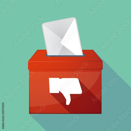 Valokuva Long shadow coloured ballot box icon with a thumb down hand