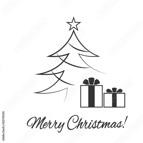 Christmas Tree Card With Star Gift Cartoon Icon Black Silhouette