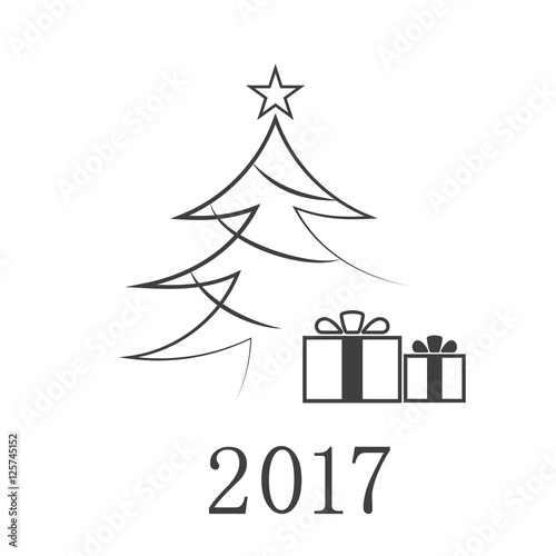 Christmas Tree Card With Gift 2017 Number Cartoon Icon Black