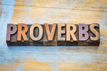 Proverbs Word Abstract In Wood Type