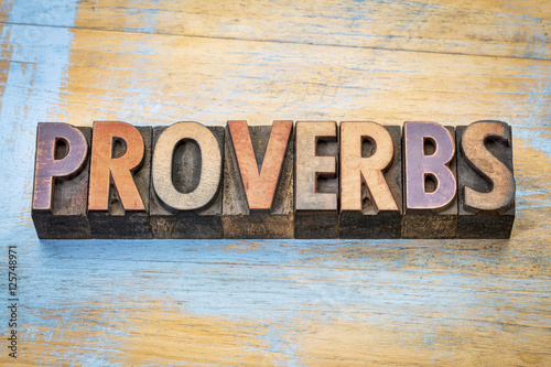 proverbs word abstract in wood type Wallpaper Mural