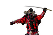 Samurai Warrior With Sword  Isolated On The White.