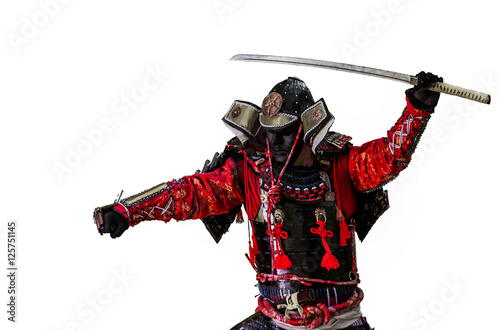 Cuadros en Lienzo Samurai warrior with sword  isolated on the white.