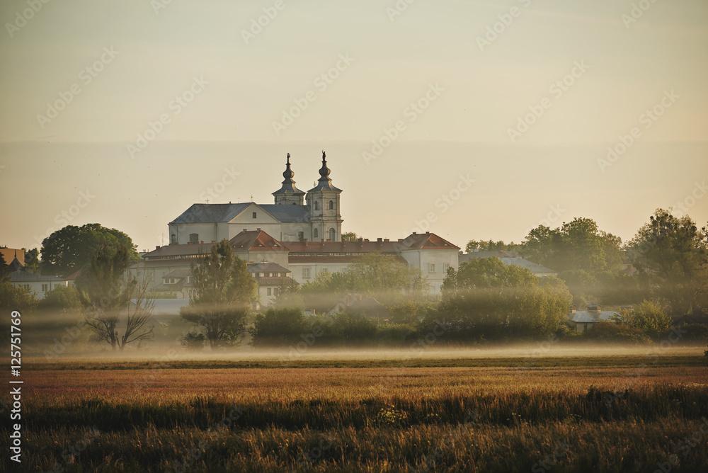 Fototapety, obrazy: Panorama miasta Krasnegostawu we mgle